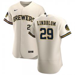 Men Milwaukee Brewers 29 Josh Lindblom Men Nike Cream Home 2020 Flex Base Player MLB Jersey