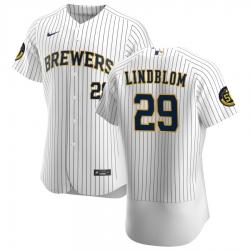 Men Milwaukee Brewers 29 Josh Lindblom Men Nike White Home 2020 Flex Base Player MLB Jersey