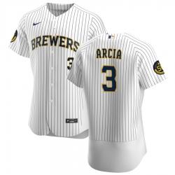 Men Milwaukee Brewers 3 Orlando Arcia Men Nike White Home 2020 Flex Base Player MLB Jersey