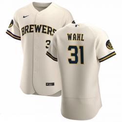 Men Milwaukee Brewers 31 Bobby Wahl Men Nike Cream Home 2020 Flex Base Player MLB Jersey
