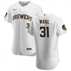 Men Milwaukee Brewers 31 Bobby Wahl Men Nike White Home 2020 Flex Base Player MLB Jersey