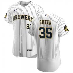 Men Milwaukee Brewers 35 Brent Suter Men Nike White Home 2020 Flex Base Player MLB Jersey