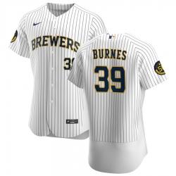 Men Milwaukee Brewers 39 Corbin Burnes Men Nike White Home 2020 Flex Base Player MLB Jersey