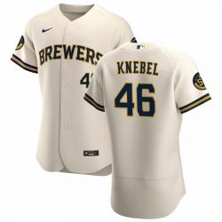 Men Milwaukee Brewers 46 Corey Knebel Men Nike Cream Home 2020 Flex Base Player MLB Jersey