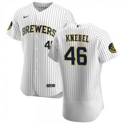 Men Milwaukee Brewers 46 Corey Knebel Men Nike White Home 2020 Flex Base Player MLB Jersey