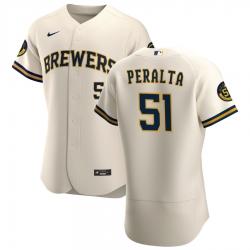 Men Milwaukee Brewers 51 Freddy Peralta Men Nike Cream Home 2020 Flex Base Player MLB Jersey