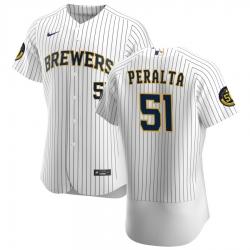 Men Milwaukee Brewers 51 Freddy Peralta Men Nike White Home 2020 Flex Base Player MLB Jersey