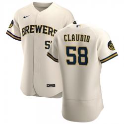 Men Milwaukee Brewers 58 Alex Claudio Men Nike Cream Home 2020 Flex Base Player MLB Jersey