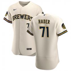 Men Milwaukee Brewers 71 Josh Hader Men Nike Cream Home 2020 Flex Base Player MLB Jersey