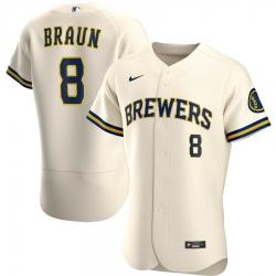 Men Milwaukee Brewers 8 Ryan Braun Men Nike Cream Home 2020 Flex Base Player MLB Jersey