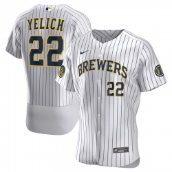 Men Milwaukee Brewers Christian Yelich Men Nike White Home 2020 Flex Base Player MLB Jersey