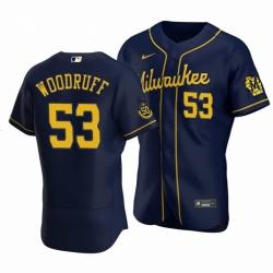 Men Nike Milwaukee Brewers 53 Brandon Woodruff Navy Alternate Stitched Baseball Jersey With Patch