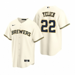 Mens Nike Milwaukee Brewers 22 Christian Yelich Cream Home Stitched Baseball Jersey