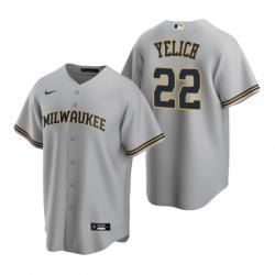 Mens Nike Milwaukee Brewers 22 Christian Yelich Gray Road Stitched Baseball Jersey