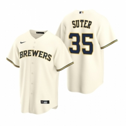 Mens Nike Milwaukee Brewers 35 Brent Suter Cream Home Stitched Baseball Jersey