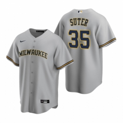 Mens Nike Milwaukee Brewers 35 Brent Suter Gray Road Stitched Baseball Jersey