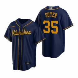 Mens Nike Milwaukee Brewers 35 Brent Suter Navy Alternate Stitched Baseball Jersey