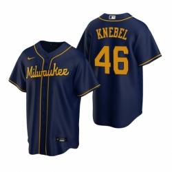 Mens Nike Milwaukee Brewers 46 Corey Knebel Navy Alternate Stitched Baseball Jersey