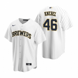 Mens Nike Milwaukee Brewers 46 Corey Knebel White Alternate Stitched Baseball Jersey