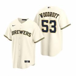 Mens Nike Milwaukee Brewers 53 Brandon Woodruff Cream Home Stitched Baseball Jersey