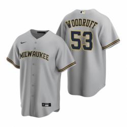 Mens Nike Milwaukee Brewers 53 Brandon Woodruff Gray Road Stitched Baseball Jersey