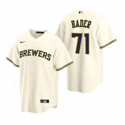 Mens Nike Milwaukee Brewers 71 Josh Hader Cream Home Stitched Baseball Jersey