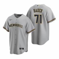Mens Nike Milwaukee Brewers 71 Josh Hader Gray Road Stitched Baseball Jersey