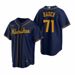 Mens Nike Milwaukee Brewers 71 Josh Hader Navy Alternate Stitched Baseball Jersey