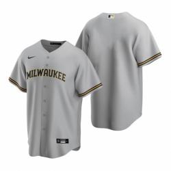 Mens Nike Milwaukee Brewers Blank Gray Road Stitched Baseball Jersey