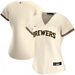 Milwaukee Brewers Nike Women Home 2020 MLB Team Jersey Cream