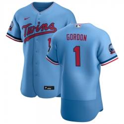 Men Minnesota Twins 1 Nick Gordon Men Nike Light Blue Alternate 2020 60th Season Flex Base Team MLB Jersey