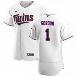 Men Minnesota Twins 1 Nick Gordon Men Nike White Home 2020 Flex Base Player MLB Jersey