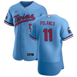 Men Minnesota Twins 11 Jorge Polanco Men Nike Light Blue Alternate 2020 60th Season Flex Base Team MLB Jersey