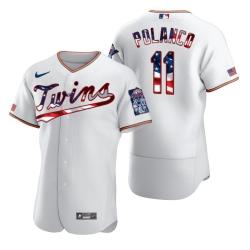 Men Minnesota Twins 11 Jorge Polanco Men Nike White Fluttering USA Flag Limited Edition Flex Base MLB Jersey
