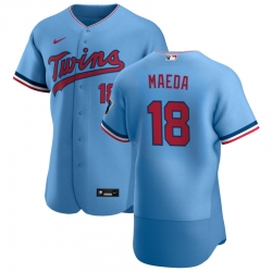 Men Minnesota Twins 18 Kenta Maeda Men Nike Light Blue Alternate 2020 Flex Base Team MLB Jersey