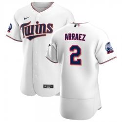 Men Minnesota Twins 2 Luis Arraez Men Nike White Home 2020 60th Season Flex Base Team MLB Jersey