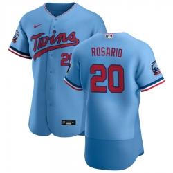 Men Minnesota Twins 20 Eddie Rosario Men Nike Light Blue Alternate 2020 60th Season Flex Base Team MLB Jersey