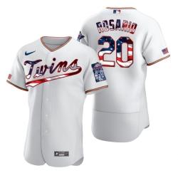 Men Minnesota Twins 20 Eddie Rosario Men Nike White Fluttering USA Flag Limited Edition Flex Base MLB Jersey