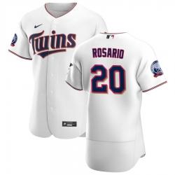 Men Minnesota Twins 20 Eddie Rosario Men Nike White Home 2020 60th Season Flex Base Team MLB Jersey
