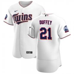 Men Minnesota Twins 21 Tyler Duffey Men Nike White Home 2020 60th Season Flex Base Team MLB Jersey