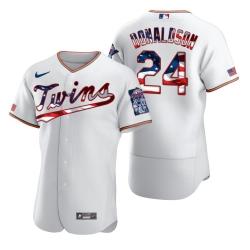 Men Minnesota Twins 24 Josh Donaldson Men Nike White Fluttering USA Flag Limited Edition Flex Base MLB Jersey
