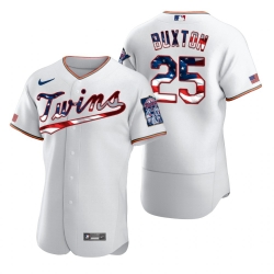 Men Minnesota Twins 25 Byron Buxton Men Nike White Fluttering USA Flag Limited Edition Flex Base MLB Jersey