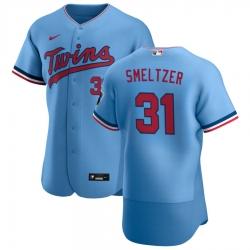 Men Minnesota Twins 31 Devin Smeltzer Men Nike Light Blue Alternate 2020 Flex Base Team MLB Jersey