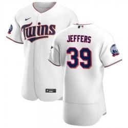 Men Minnesota Twins 39 Ryan Jeffers Men Nike White Home 2020 60th Season Flex Base Team MLB Jersey