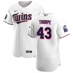 Men Minnesota Twins 43 Lewis Thorpe Men Nike White Home 2020 60th Season Flex Base Team MLB Jersey