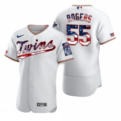 Men Minnesota Twins 55 Taylor Rogers Men Nike White Fluttering USA Flag Limited Edition Flex Base MLB Jersey