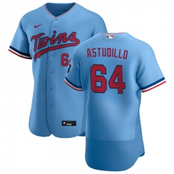 Men Minnesota Twins 64 Willians Astudillo Men Nike Light Blue Alternate 2020 Flex Base Team MLB Jersey