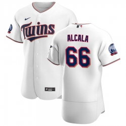 Men Minnesota Twins 66 Jorge Alcala Men Nike White Home 2020 60th Season Flex Base Team MLB Jersey