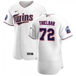 Men Minnesota Twins 72 Caleb Thielbar Men Nike White Home 2020 60th Season Flex Base Team MLB Jersey