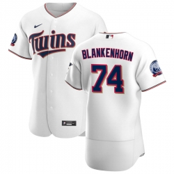 Men Minnesota Twins 74 Travis Blankenhorn Men Nike White Home 2020 60th Season Flex Base Team MLB Jersey